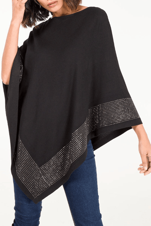 Donna Diamante Trim Knitted Poncho