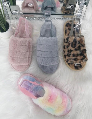 Sonia Strap Back Faux Fur Slippers - Lulu Bella Boutique