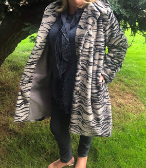 Trina Tiger Print Curvy Faux Fur Coat