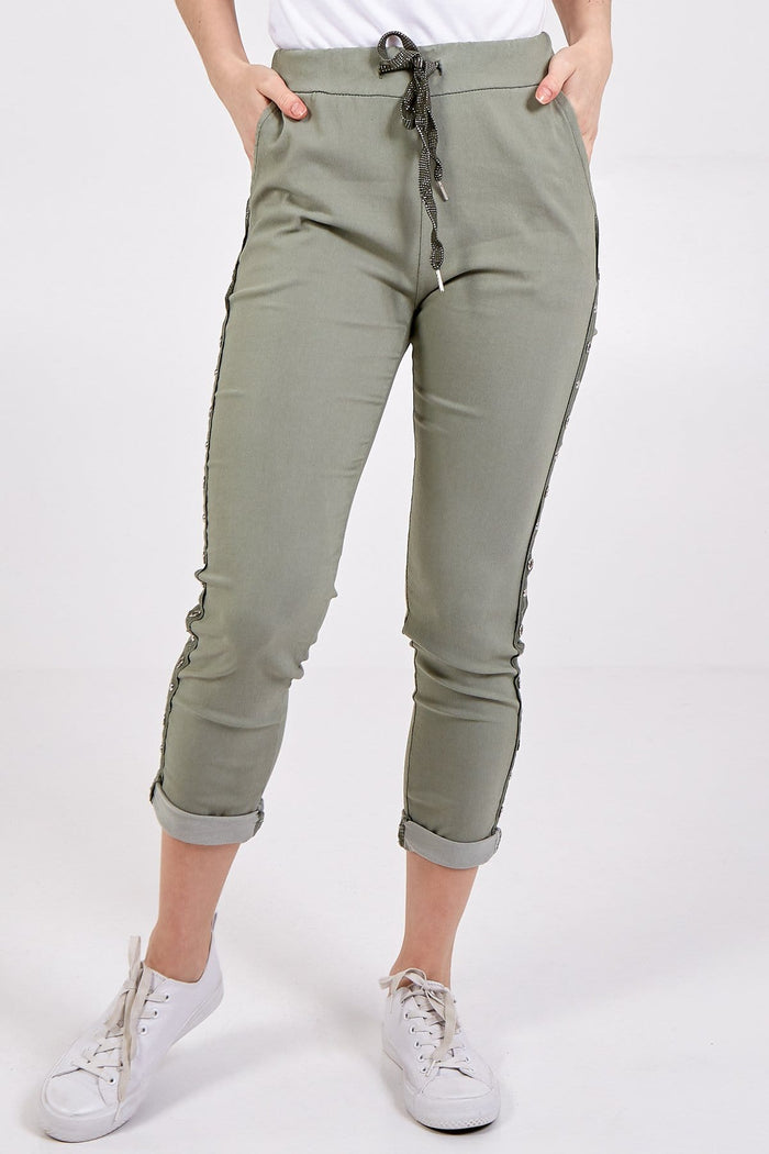 Miley Magic Two Pocket Studded Side Panel Trousers