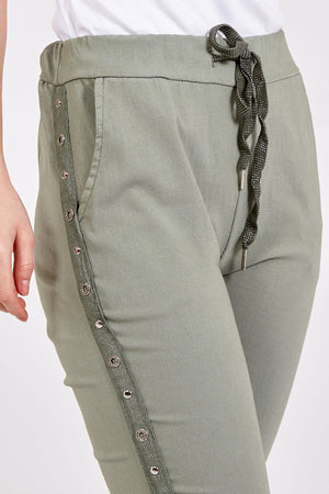 Miley Magic Two Pocket Studded Side Panel Trousers - Lulu Bella Boutique