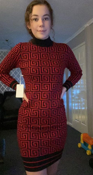 Fendi Inpsired Turtle Neck Jumper Dress - Lulu Bella Boutique
