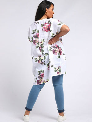 Ffion Floral Linen High Low Top - Lulu Bella Boutique
