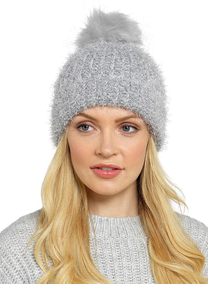 Bonnie Knitted Metallic Silver Lurex Hats - Lulu Bella Boutique