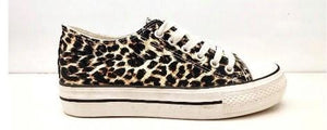 Frankie Leopard Canvas Trainers - Lulu Bella Boutique