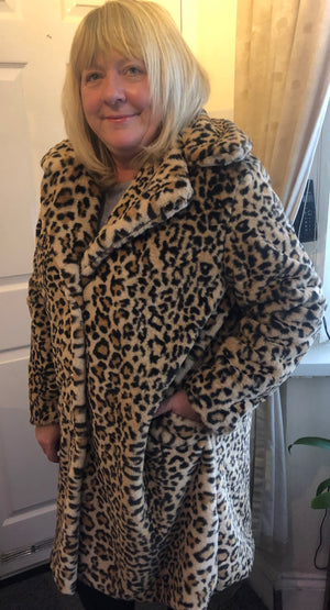 Laura Leopard Print Faux Fur Coat - Lulu Bella Boutique