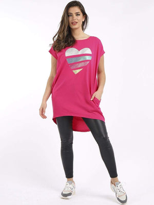 Spencer Shimmery Rainbow Stripy Heart Top - Lulu Bella Boutique