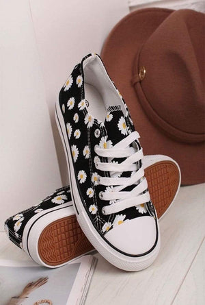 Daisy Detail Canvas Trainers - Lulu Bella Boutique