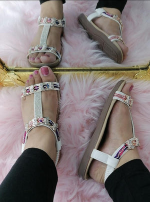 Vicki Diamante Detail Sandals - Lulu Bella Boutique