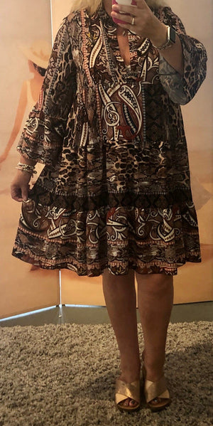 Brionie Boho Smock Tunic Dress