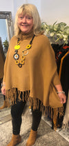Angelina Tassel Detail Polo Neck Poncho - Lulu Bella Boutique