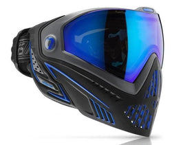 The black/blue storm Dye i5 goggle system is an aggressive, light weight mask, offering more protection, extra venting and better comfort than any other Paintball mask