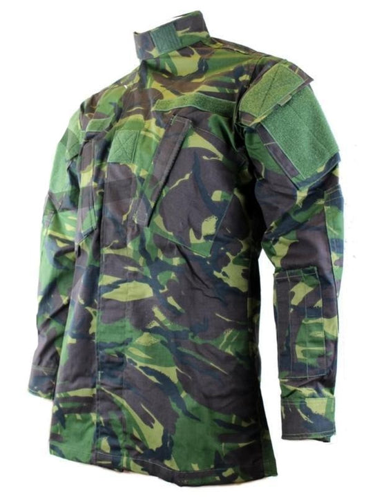 Military Jacket which closes up to the neck with buttons and Velcro fasteners. Manufactured in British Disruptive Pattern Camo and from made from Rip Stop cotton