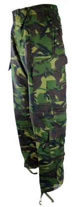 Military Trousers made from heavy duty nylon cotton blend (ripstop cotton), reinforced in the seat and knees, made with eight pockets and these come in British DPM. Sizes from  Small to 4XL