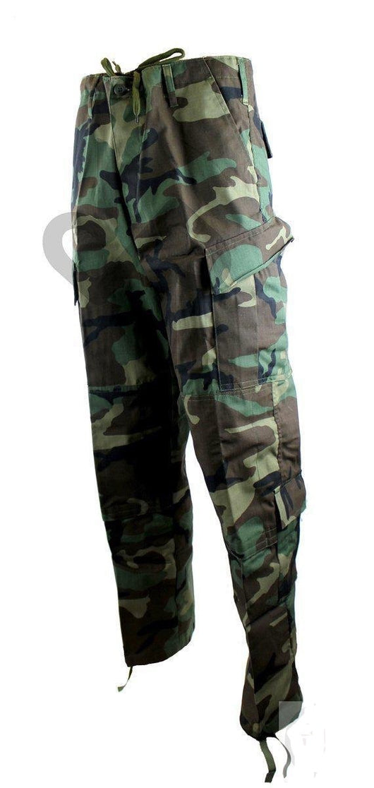 Military Trousers made from heavy duty nylon cotton blend (ripstop cotton), reinforced in the seat and knees, made with eight pockets and these come in Woodland Camo. Sizes from  Small to 4XL
