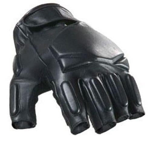 SWAT Tactical Leather Gloves (Half Finger - Black) 2X Large