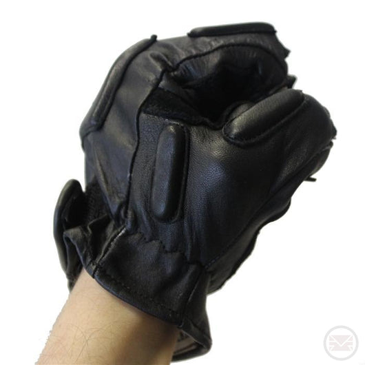 SWAT Tactical Leather Gloves (Half Finger - Black) Extra Large