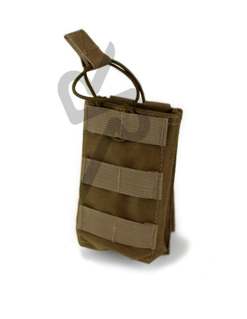 High Quality Manufactured Nylon Pouch with an Open top designed to hold Gun Magazines- stitched on elastic retaining tab for quick release