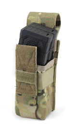 Strong Nylon Cordura pouch in Multicam Camo. Holds x 2 Magazines or 1 x 13 ci Air Tank. Fits using a Molle system