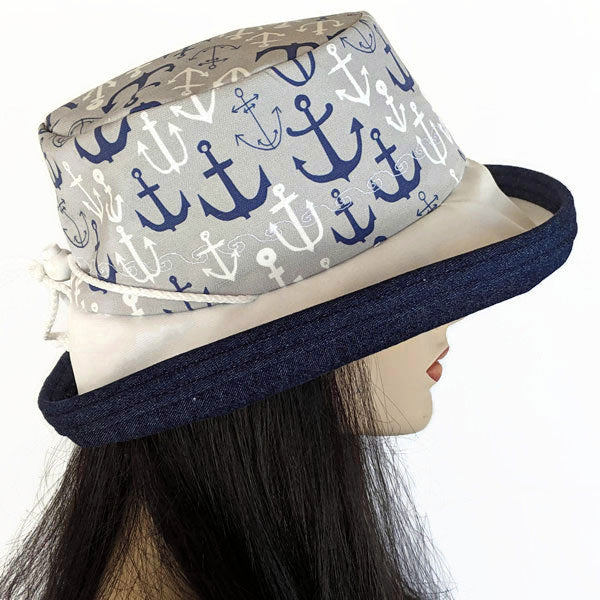 140 Sunblocker UV summer hat sun hat featuring navy and grey anchors