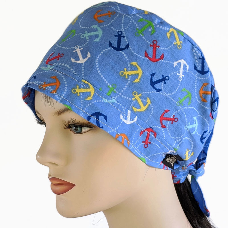 Nurses cotton scrub cap, elastic and tie fit, mask elastic built in buttons, anchors away