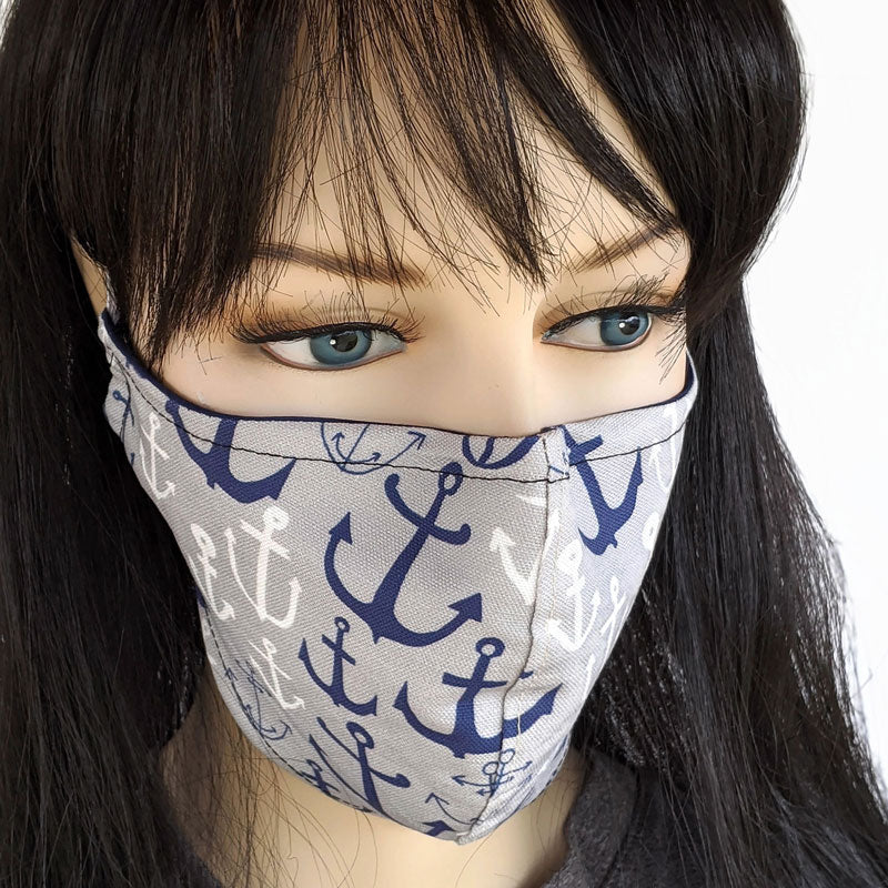 Cotton linen Fabric face mask, with poly cotton lining, classic anchors in two sizes