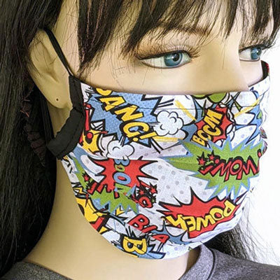 3 layer pleated folding style fabric face mask, pow take that covid, one size