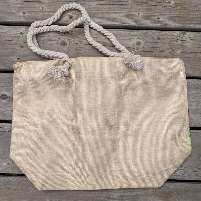 Beach Bag with zipper closure featuring tropical fruit
