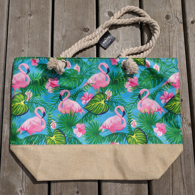 Beach Bag featuring with zipper closure featuring flamingoes