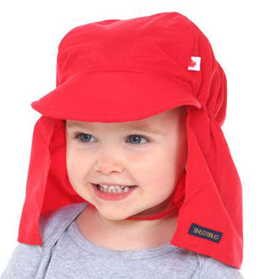 Beach Hat, UPF 50+, with back flap protection, Kids sun hat, in 3 sizes, solid red