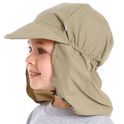 Beach Hat, UPF 50+, with back flap protection, Kids sun hat, in 3 sizes, solid tan