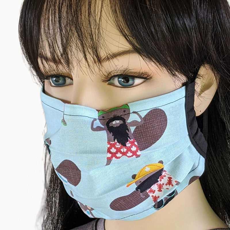 3 layer pleated folding style fabric face mask, featuring beavers at the beach, one size