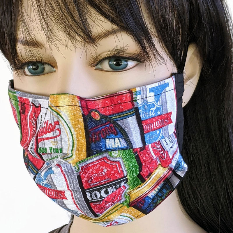 3 layer pleated folding style fabric face mask, featuring beer, cans of beer, one size