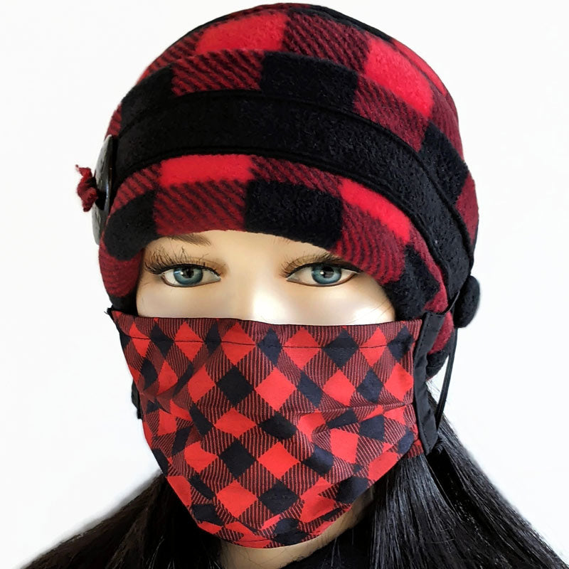 Big Button toque with mask ear saver buttons, in red and black plaid check