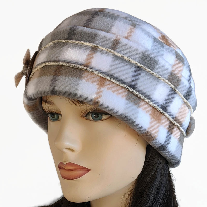 Big Button toque with ear saver buttons, carmel, cream and grey plaid