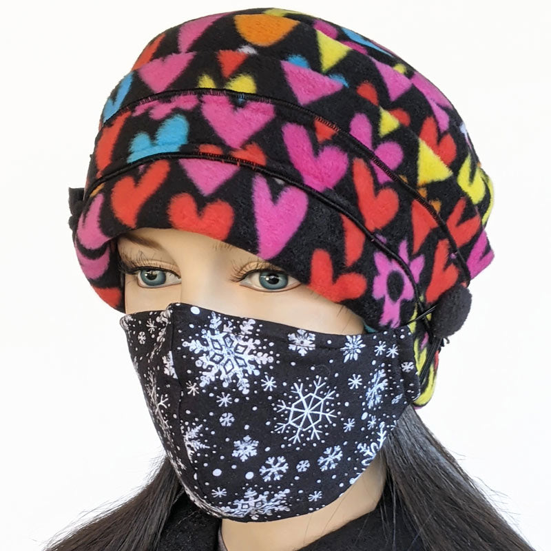 Big Button toque with mask ear saver buttons, in colourful hearts print
