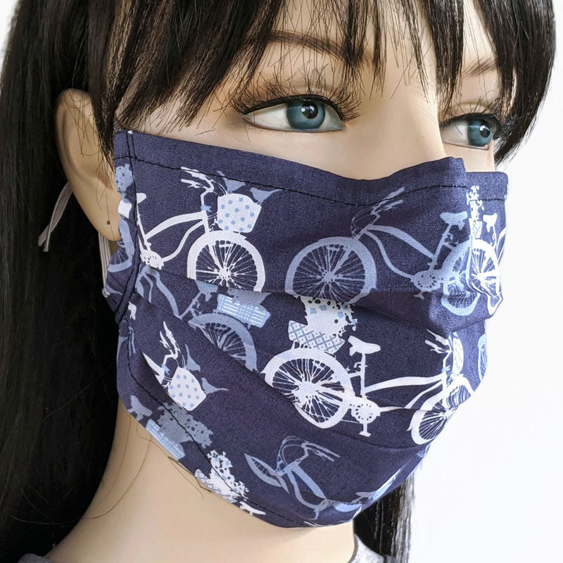 3 layer pleated folding style fabric face mask, pretty bikes, one size