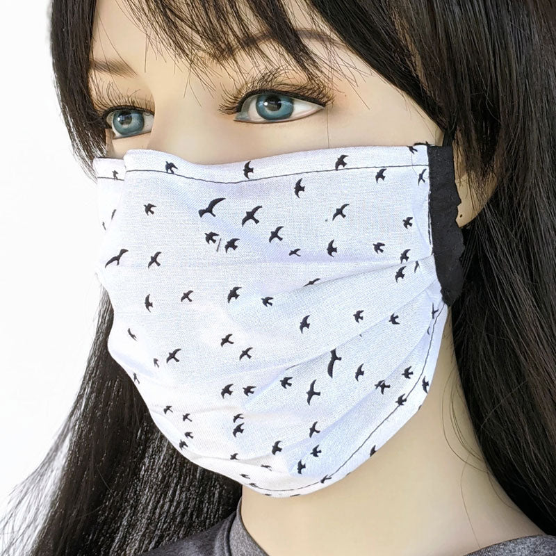 3 layer pleated folding style fabric face mask, birds in flight, one size