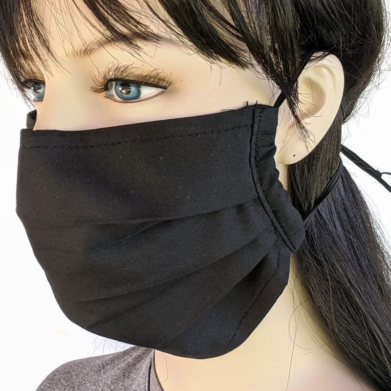 3 layer pleated folding style fabric face mask, solid black, one size