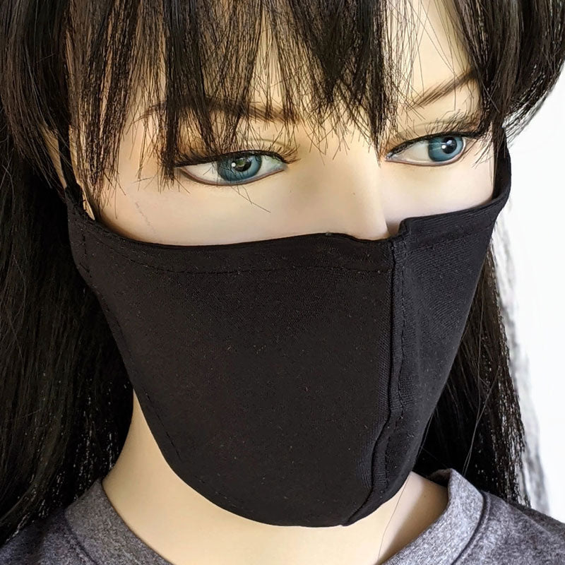 Fabric face mask, solid black canvas with poly cotton lining, two adult sizes