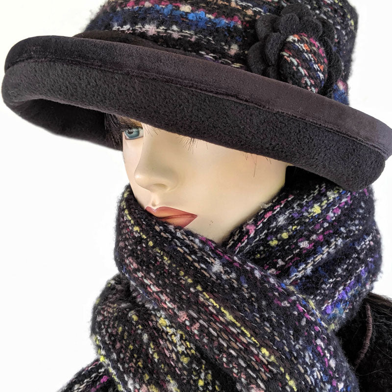 Soft knit woven scarf in black with multi colors