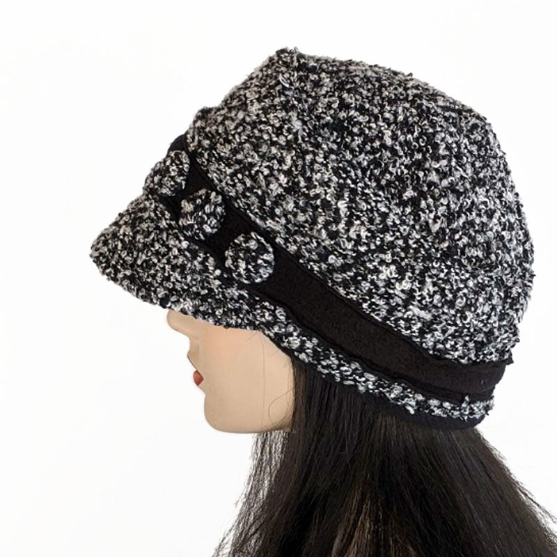 Knit fashion cap for spring, fall and mild winter weather in black and white boucle