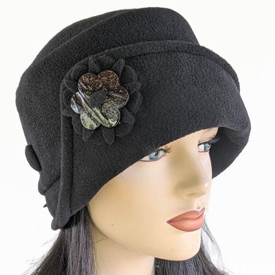 Persian Lamb faux fur fashion Toque premium fleece toque with fun flower pin in Black