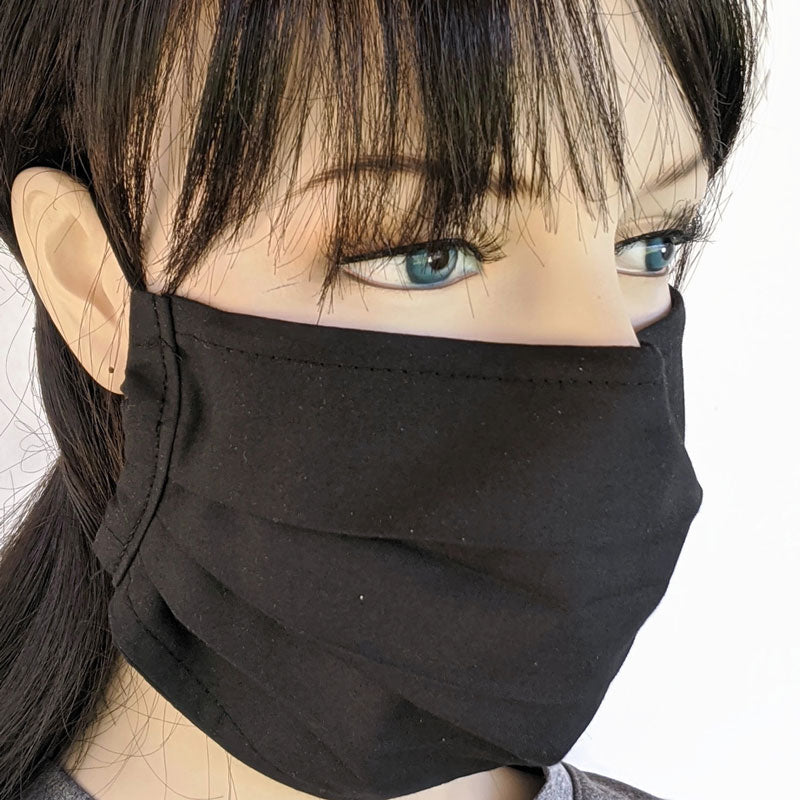 Accordion pleated fold style fabric face mask, 3 layers, solid black, one size
