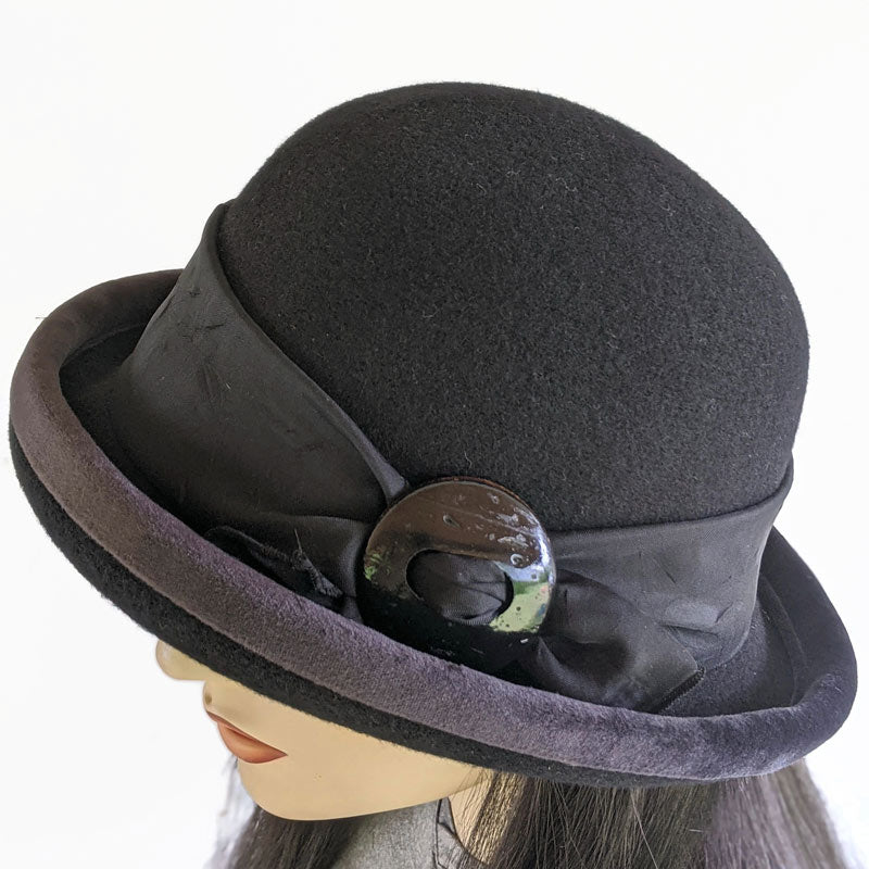 800-b Felted Wool fashion hat in Black with Adjustable Fit