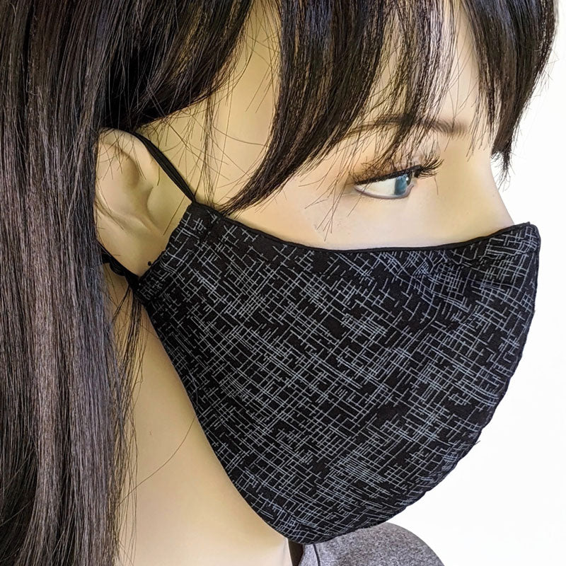 3 layer fabric face mask, black with grey lines, unisex, in adult regular and adult large (most men)