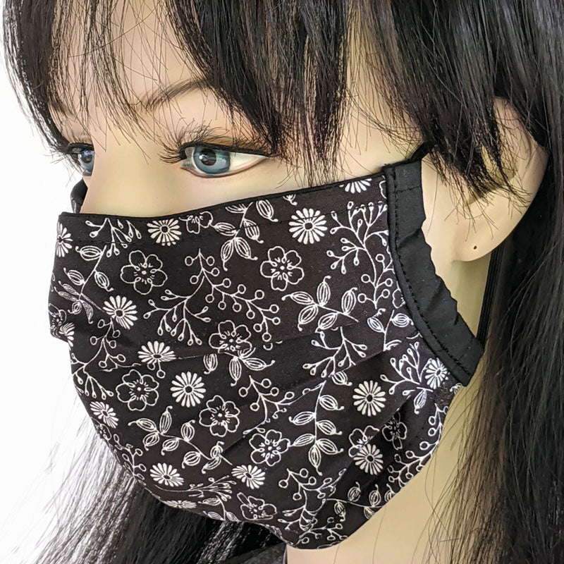 3 layer pleated folding style fabric face mask, small black and white floral, one size