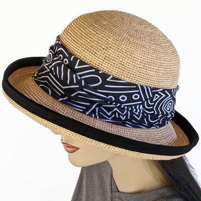201-1 Raffia Straw sun hat with finished edge, adjustable fit, removable headband