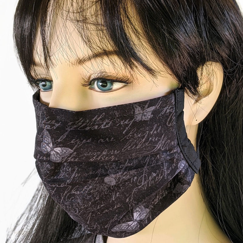 3 layer pleated folding style fabric face mask, grey butterflies on black, one size