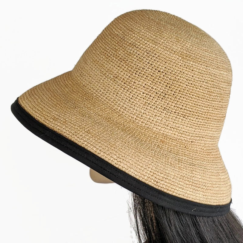 202 - Raffia Travel Sun Hat with adjustable fit with removable scarf and black trim